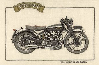 Click for more details of 1952 Vincent Black Shadow (cross-stitch kit) by Dave Shaw