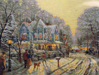 Click for more details of A Holiday Gathering (cross-stitch kit) by Thomas Kinkade