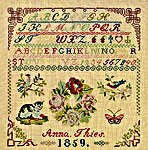 Click for more details of Anna Theis 1859 Sampler (cross-stitch kit) by Permin of Copenhagen