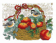 Click for more details of Apple Basket Chickadees (cross stitch) by Imaginating