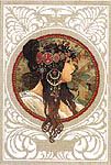 Click for more details of Art Nouveau by Mucha - Brunette (cross-stitch kit) by Lanarte