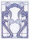 Click for more details of Art Nouveau Window - Blue (blackwork) by Classic Embroidery