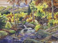 Click for more details of Autumn Woodland with Moose (cross-stitch) by Eva Rosenstand