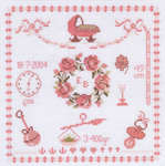 Click for more details of Baby Girl Nursery Sampler (cross stitch) by Permin of Copenhagen