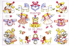 Click for more details of Baby Girl Sampler (cross stitch) by Permin of Copenhagen