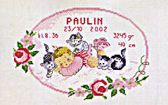 Click for more details of Baby Girl with Kittens Birth Record (cross-stitch kit) by Permin of Copenhagen