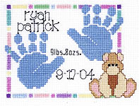 Click for more details of Baby Handprints Birth Announcement (cross-stitch kit) by Janlynn
