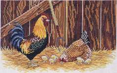 Click for more details of Barn Chickens (cross-stitch kit) by Eva Rosenstand