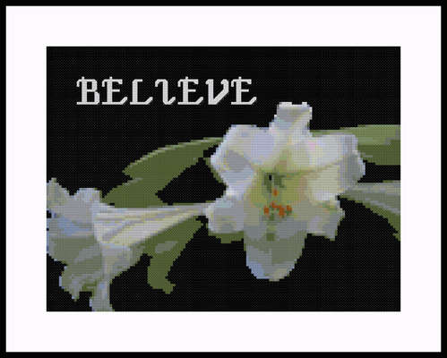 Click for more details of Believe Lily Sampler (cross stitch) by Mary Gaines
