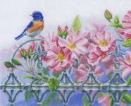 Click for more details of Bird on Railings with Pink Flowers (cross stitch) by Lanarte