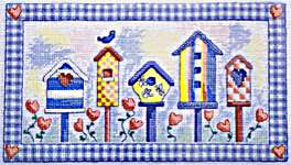 Click for more details of Birdhouse Paradise ( Blue) (cross stitch) by Cinnamon Cat