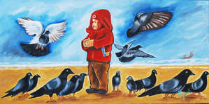 Click for more details of BIRDS ON THE WING (oil on board) by ragunath