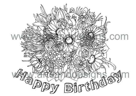 Click for more details of Birthday Bouquet Digital Stamp (digital downloads) by Julie Lynes
