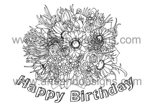 Click for more details of Birthday Bouquet Digital Stamp (digital downloads) by Julie Lynes