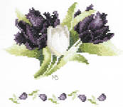Black and White Tulips - cross-stitch kit by Marjolein Bastin