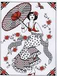 Click for more details of Blackwork Girl with Parasol (blackwork) by Lesley Teare