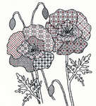 Click for more details of Blackwork Poppy (blackwork) by Bothy Threads