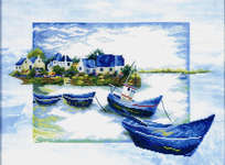 Click for more details of Blue Boats (cross-stitch kit) by Lanarte