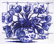 Blue Delft Tulips - cross-stitch kit by Permin of Copenhagen