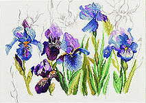 Click for more details of Blue Irises (cross-stitch) by Lanarte