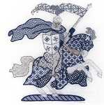 Click for more details of Blue Knight (blackwork pattern) by Laura J Perin