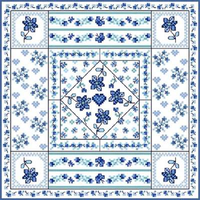 Click for more details of Blue Patchwork (cross-stitch pattern) by Designs by Cathy
