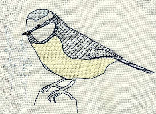 Click for more details of Blue Tit and Bluebells (blackwork) by Anne Peden