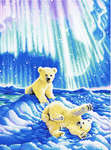 Click for more details of Borealis Polar Bear Cubs (cross stitch) by Kustom Krafts