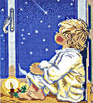 Click for more details of Boy looking at Stars (cross stitch) by Eva Rosenstand