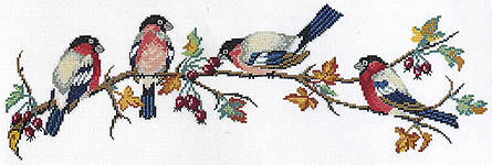 Click for more details of Bullfinches (cross stitch) by Eva Rosenstand