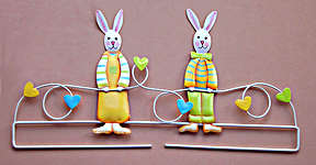Click for more details of Bunny Hearts Deco Hanger (bell pulls) by Rico Design