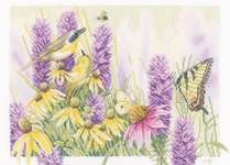 Butterfly Bush and Echinacea - cross-stitch kit by Marjolein Bastin
