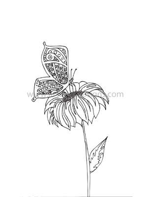 Click for more details of Butterfly on a Flower Digital Stamp (digital downloads) by Julie Lynes