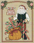 Click for more details of Candy Stick Santa (cross-stitch pattern) by Sue Hillis Designs