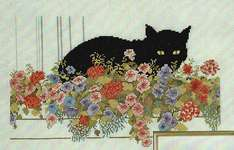 Click for more details of Cat in a Window Box (cross stitch) by Permin of Copenhagen
