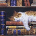 Click for more details of Cat Sleeping on a Bookshelf (cross-stitch kit) by Vervaco