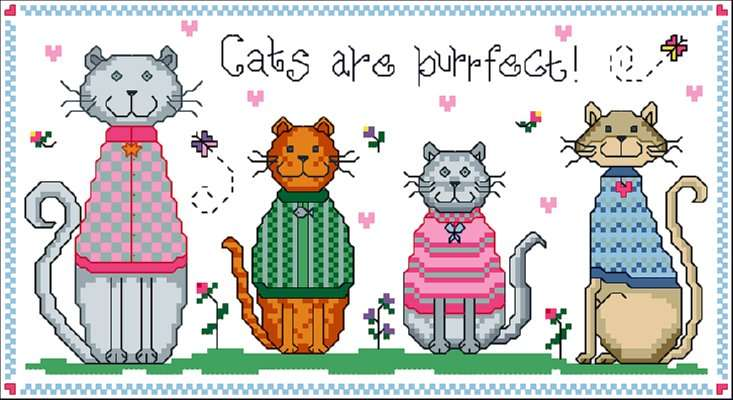 Click for more details of Cats are Purrfect (cross-stitch pattern) by Designs by Cathy