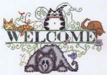 Click for more details of Cats Welcome (cross stitch) by MarNic Designs