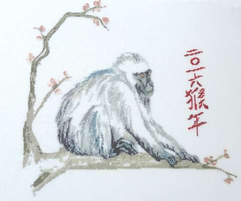Click for more details of Chinese Year of the Monkey (cross stitch) by Anne Peden