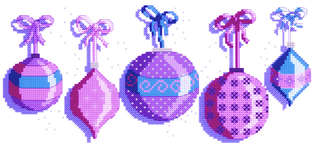 Click for more details of Christmas Baubles (cross-stitch kit) by Cinnamon Cat