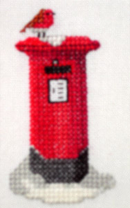Click for more details of Christmas Card - Robin on a pillar box (cross-stitch pattern) by Anne Peden