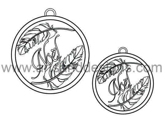 Click for more details of Christmas Feather Baubles - Soot Black - Digital Stamp (digital downloads) by Julie Lynes