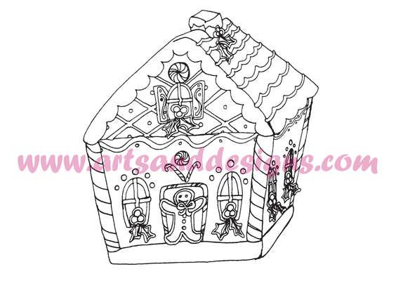 Click for more details of Christmas Gingerbread House Digital Stamp (digital downloads) by Julie Lynes