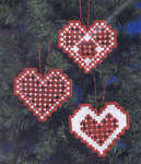 Click for more details of Christmas Hardanger Hearts - White (hardanger kit) by Permin of Copenhagen