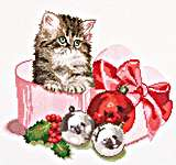 Click for more details of Christmas Kitten (cross-stitch kit) by Thea Gouverneur