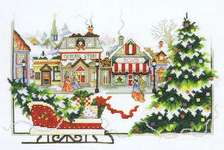 Click for more details of Christmas Sleigh in the Village (cross stitch) by Stoney Creek