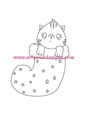 Click for more details of Christmas Stocking Cat Digi Stamp (digital downloads) by Julie Lynes