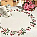 Click for more details of Circle of Wild Roses and Hips table cover (embroidery kit) by Rico Design