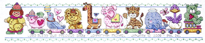 Click for more details of Circus Train Birth (cross stitch) by Imaginating