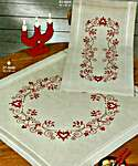 Click for more details of Classic Red Table Cover - Hearts and Flowers (embroidery) by Permin of Copenhagen